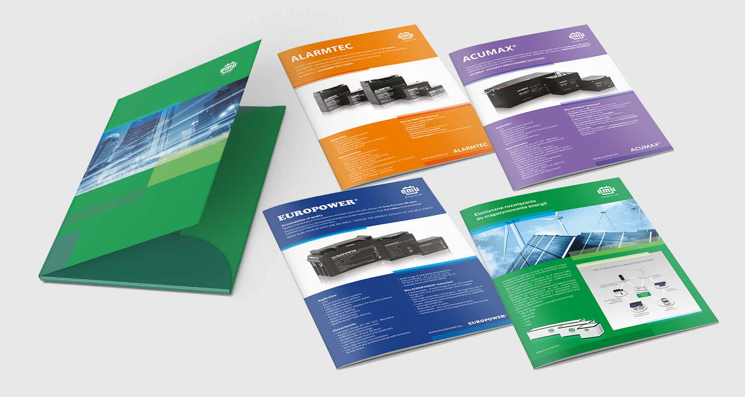 Design example - company folder and product brochures