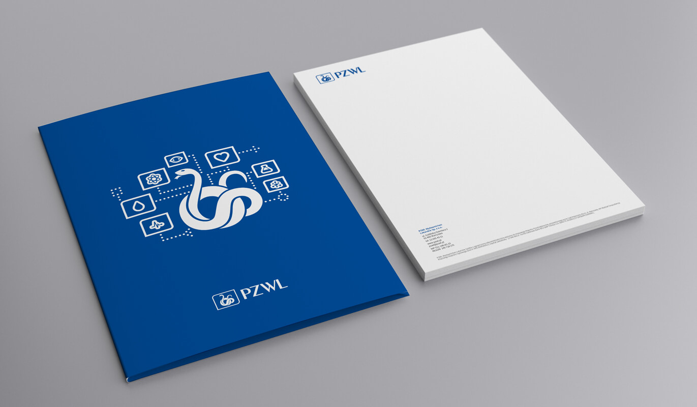 Graphic design example: corporate identity, folder, letterhead
